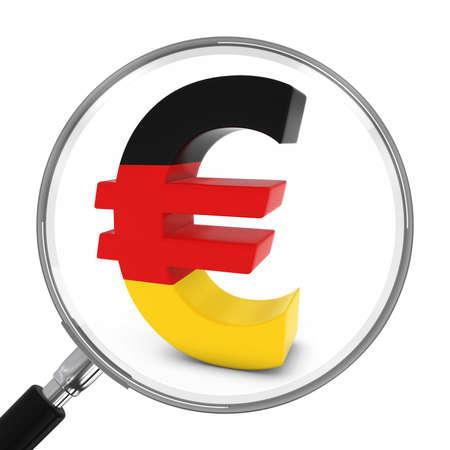euro symbol: Germany Finance Concept - German Euro Symbol Under Magnifying Glass - 3D Illustration Stock Photo