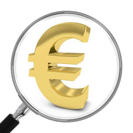 euro symbol: Gold Euro Symbol Under Magnifying Glass - 3D Illustration Stock Photo