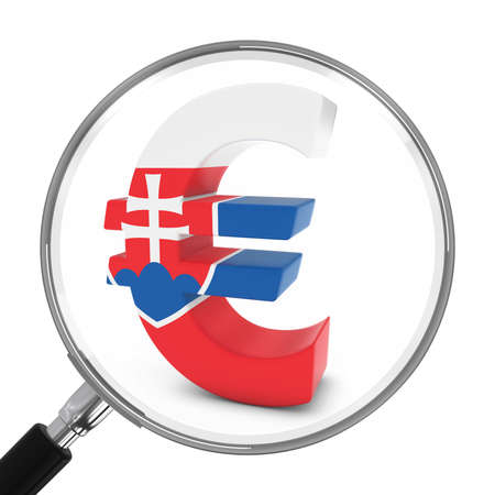 slovakian: Slovakia Finance Concept - Slovakian Euro Symbol Under Magnifying Glass - 3D Illustration