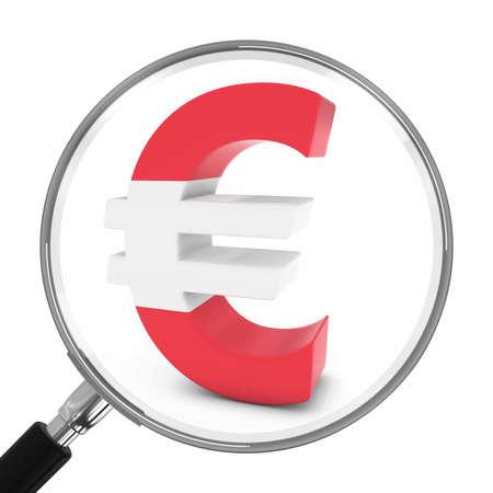 austrian: Austria Finance Concept - Austrian Euro Symbol Under Magnifying Glass - 3D Illustration