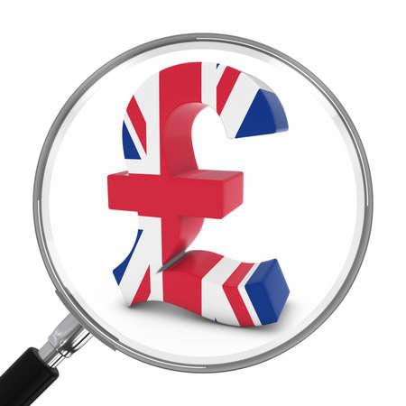 british pound: UK Finance Concept - British Pound Symbol Under Magnifying Glass - 3D Illustration Stock Photo