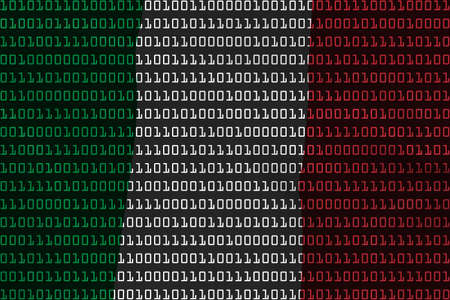 binary code: Italian Technology Concept - Flag of Italy in Binary Code - 3D Illustration