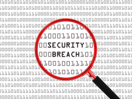 security breach: Security Breach found in Binary Code with Magnifying Glass - 3D Illustration Stock Photo