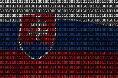 slovakian: Slovakian Technology Concept - Flag of Slovakia in Binary Code - 3D Illustration