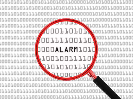binary code: Alarm found in Binary Code with Magnifying Glass - 3D Illustration Stock Photo