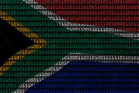 south african flag: South African Technology Concept - Flag of South Africa in Binary Code - 3D Illustration