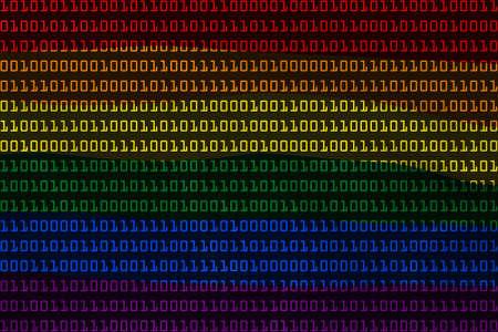 Gay Pride Flag in Binary Code - 3D Illustration