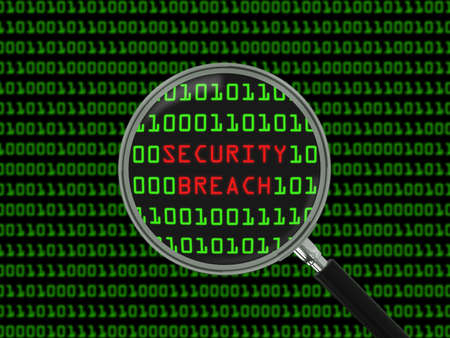 breach: Security Breach found in Binary Code with Magnifying Glass - 3D Illustration Stock Photo