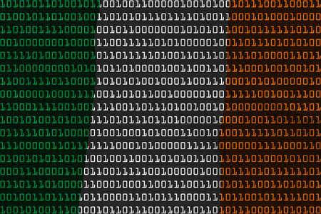 ireland flag: Irish Technology Concept - Flag of Ireland in Binary Code - 3D Illustration Stock Photo