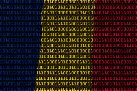 romanian: Romanian Technology Concept - Flag of Romania in Binary Code - 3D Illustration