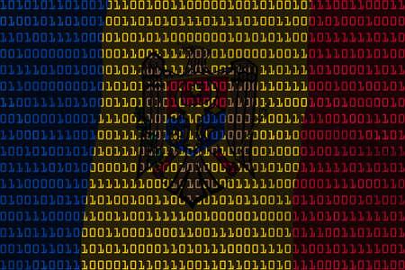 moldovan: Moldovan Technology Concept - Flag of Moldova in Binary Code - 3D Illustration