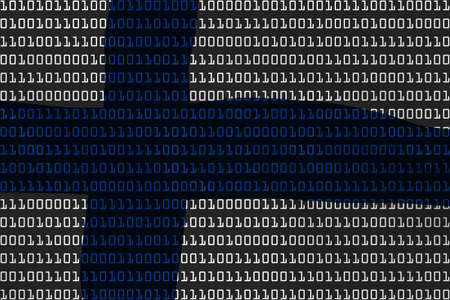 finnish: Finnish Technology Concept - Flag of Finland in Binary Code - 3D Illustration Stock Photo