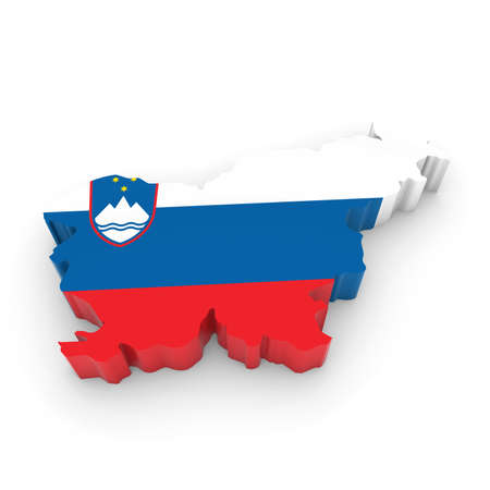 slovenian: 3D Illustration Map Outline of Slovenia with the Slovenian Flag