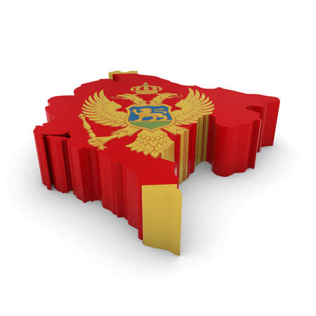 three dimensional shape: 3D Illustration Map Outline of Montenegro with the Montenegrin Flag