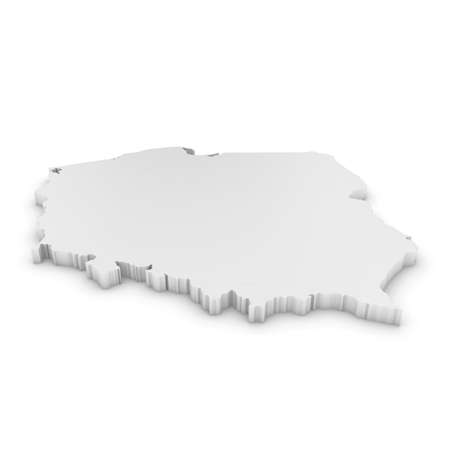 White 3D Illustration Map Outline of Poland Isolated on White Stock Photo
