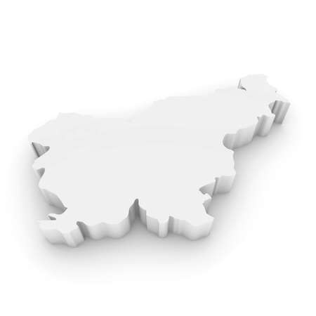 three dimensional shape: White 3D Illustration Map Outline of Slovenia Isolated on White Stock Photo