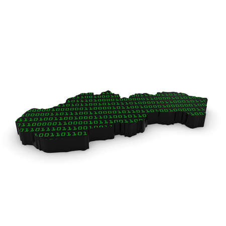 slovakian: Slovakian Technology Industry Concept Image - 3D Illustration Map Outline of Slovakia with Green Binary Code