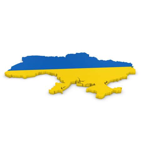 ukrainian flag: 3D Illustration Map Outline of Ukraine with the Ukrainian Flag Stock Photo