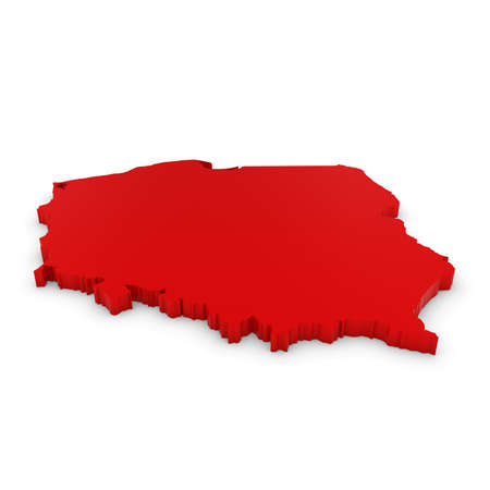 three dimensional shape: Red 3D Illustration Map Outline of Poland Isolated on White