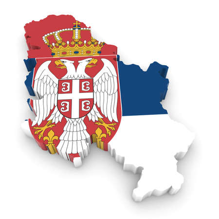 three dimensional shape: 3D Illustration Map Outline of Serbia with the Serbian Flag Stock Photo