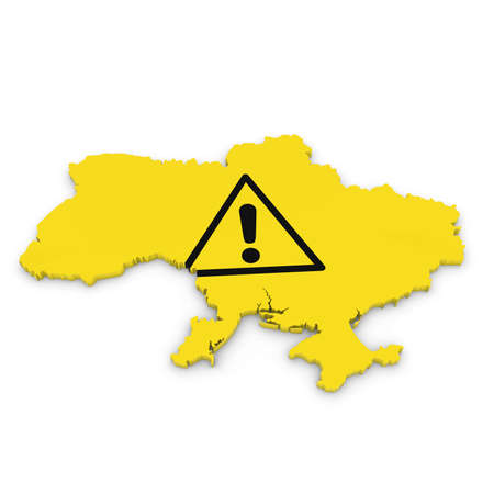 hazard: Ukrainian Hazard Concept - 3D Illustration Map Outline of Ukraine with Hazard Symbol