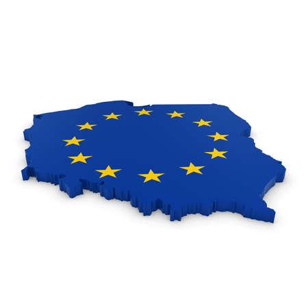 european union flag: 3D Illustration Map Outline of Poland with the European Union Flag