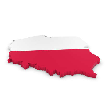 polish flag: 3D Illustration Map Outline of Poland with the Polish Flag Stock Photo