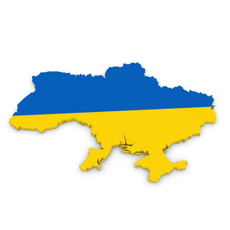 three dimensional shape: 3D Illustration Map Outline of Ukraine with the Ukrainian Flag Stock Photo