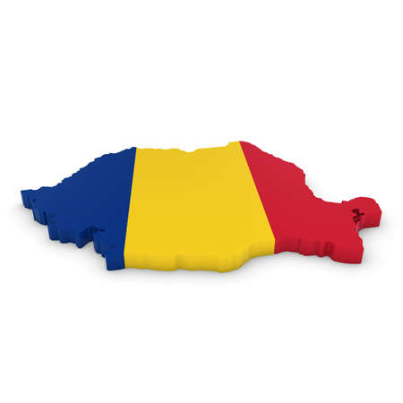 romanian: 3D Illustration Map Outline of Romania with the Romanian Flag