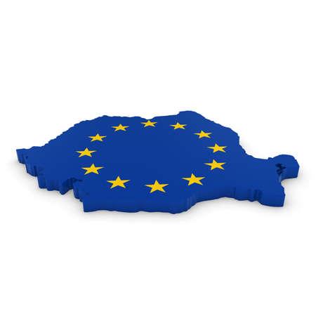 european union flag: 3D Illustration Map Outline of Romania with the European Union Flag Stock Photo