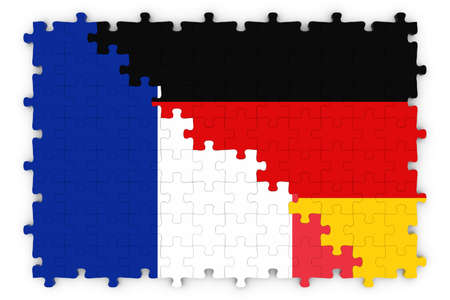 merged: French and German Relations Concept Image - Flags of France and Germany Jigsaw Puzzle Stock Photo