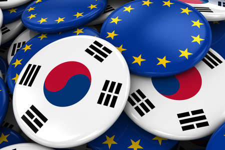 opposed: Flag Badges of South Korea and Europe in Pile - Concept image for South Korean and European Relations - 3D Illustration Stock Photo