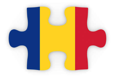 romanian: Romanian Flag Puzzle Piece Top Down Orthographic 3D Illustration