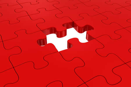 missing piece: Red Jigsaw Puzzle with Missing Piece Stock Photo