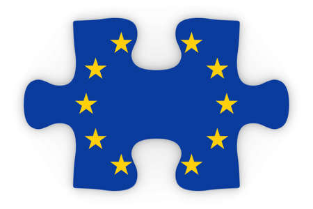 top down: European Union Flag Puzzle Piece Top Down Orthographic 3D Illustration Stock Photo