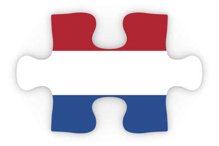 dutch flag: Dutch Flag Puzzle Piece Top Down Orthographic 3D Illustration Stock Photo