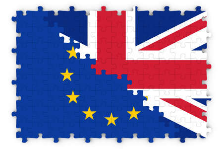 merged: European and British Relations Concept Image - Flags of the European Union and United Kingdom Jigsaw Puzzle Stock Photo