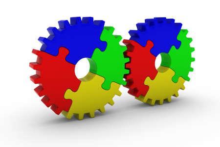 multicoloured: Multicoloured Jigsaw Puzzle Cog Wheels - 3D Illustration