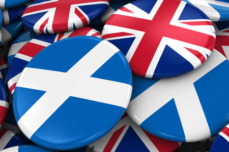 opposed: Flag Badges of Scotland and UK in Pile - Concept image for Scottish and British Relations - 3D Illustration