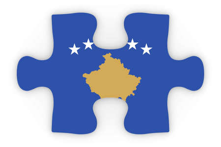 orthographic: Kosovan Flag Puzzle Piece Top Down Orthographic 3D Illustration