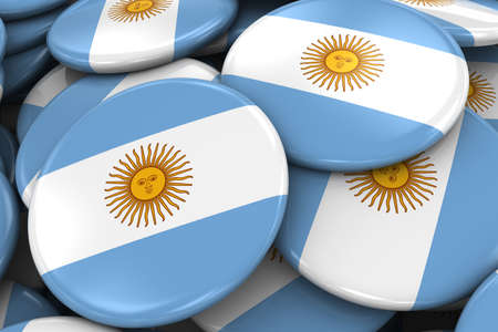 argentinian flag: Pile of Argentinian Flag Badges - Flag of Argentina Buttons piled on top of each other - 3D Illustration