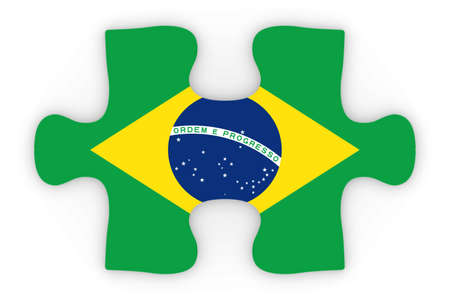 orthographic: Brazilian Flag Puzzle Piece Top Down Orthographic 3D Illustration