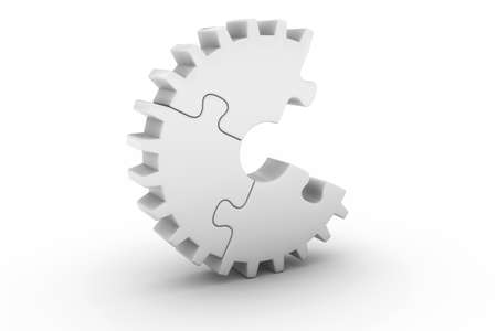 missing: White Jigsaw Puzzle Cog Wheel with Missing Piece - 3D Illustration