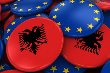 opposed: Flag Badges of Albania and Europe in Pile - Concept image for Albanian and European Relations - 3D Illustration Stock Photo