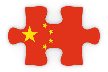orthographic: Chinese Flag Puzzle Piece Top Down Orthographic 3D Illustration