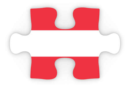 top down: Austria Flag Puzzle Piece Top Down Orthographic 3D Illustration