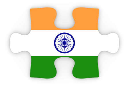 orthographic: Indian Flag Puzzle Piece Top Down Orthographic 3D Illustration