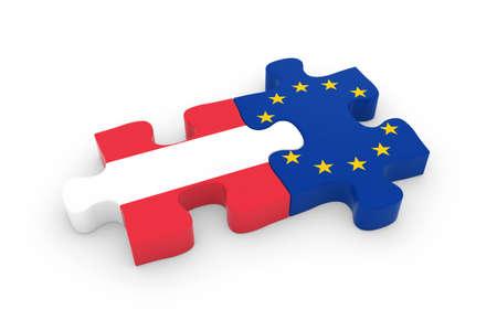 austrian: Austria and EU Puzzle Pieces - Austrian and European Flag Jigsaw 3D Illustration