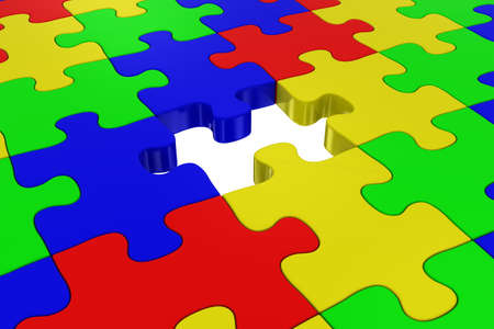 missing piece: Multicoloured Jigsaw Puzzle with Missing Piece