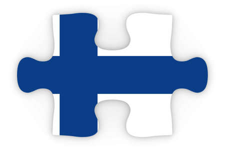 orthographic: Finnish Flag Puzzle Piece Top Down Orthographic 3D Illustration